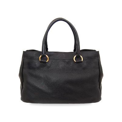 logo leather tote bag black